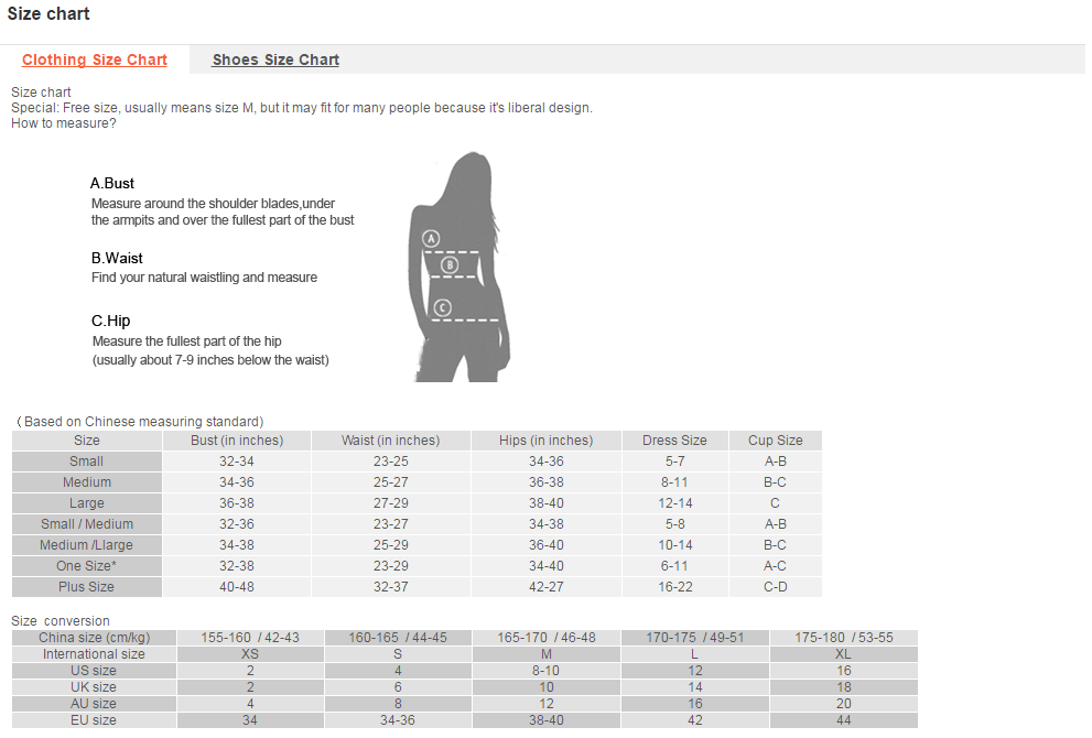 Size Chart Dresslink