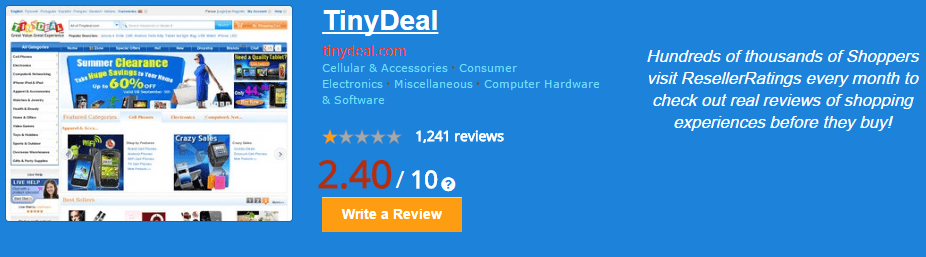 TinyDeal ResellerRatings